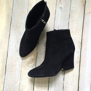 Sam Edelman Black Suede wedge boots 9.5
